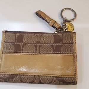 Tan Coach Change Wallet with key chain